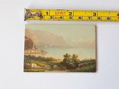 Vintage Miniature Oil Painting On Board.continental Coastal Scene.7.5 X 5.1 Cm.