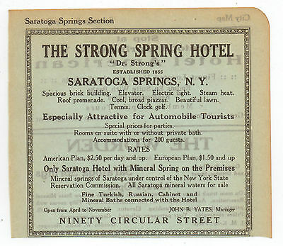 Original, 1915 - The Strong Spring Hotel Advertisement - Saratoga Springs, NY