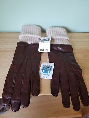Portolano Women's Brown Nappa Leather Gloves with Cashmere Detail Size 8.5