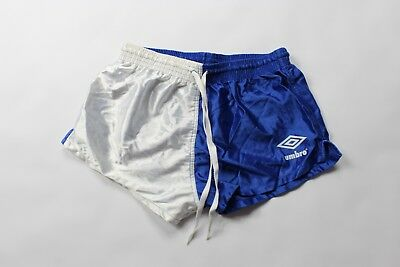 """Vintage 90s New UMBRO Youth Large Spell Out 2"""" Shiny Nylon Soccer Shorts Blue"""