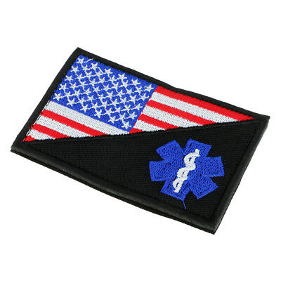 Paramedic Star of Life Pattern Embroidered Hook Loop Patch Clothes Decor 2#