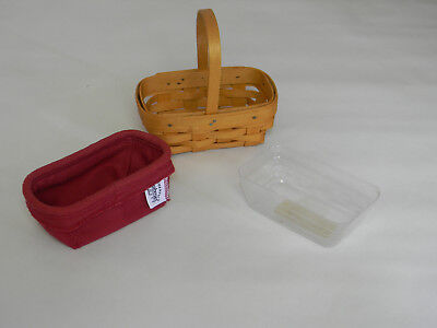 Longaberger Parsley Booking Basket w/ Red Liner and Protector