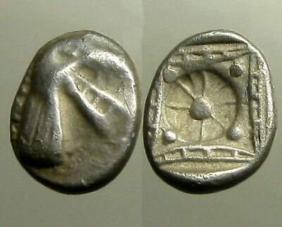 KINDYA KARIA SILVER TETROBOL___Ancient Greece___HEAD OF KETOS___Scarce Type