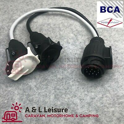 13 Pin 7 Pin Trailer Adaptor Lead -  Socket Plug Caravan Towing 12N/12S - RI750