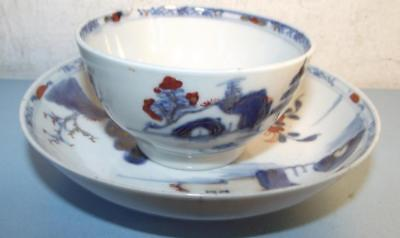 18th Century Chinese Porcelain Teabowl+Saucer Hand Painted Iron Red Decoration