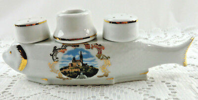Limoges Vintage Porcelain Fish Condiment Set Salt Pepper Marseille Castle France