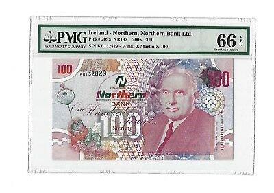 2005 Northern Ireland 100 Pounds, Northern Bank Ltd, PMG 66 EPQ GEM UNC, P-209a