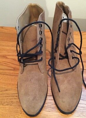 Vintage Retro Newport News 80's Beige/ Tan Suede Ankle Boots Brand New Size 7.5