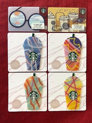 6 New Starbucks 2018 Us Summer Gift Cards Lot Frap Glasses Braille