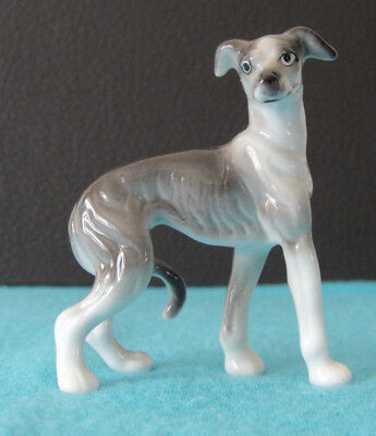 Ceramic Gray and White Whippet Figurine Collectible w/ Tail Between Its Legs