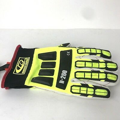 RINGERS Gloves R-260 Yellow Neon Roughneck Cotton Palm TRP Impact Gloves 2XL New
