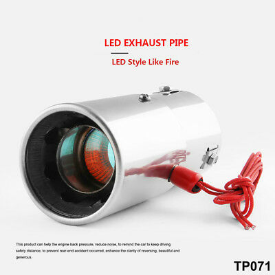 """Spitfire Car LED Exhaust Pipe Muffler Steel Staineless Chrome Red Light 2.75"""""""