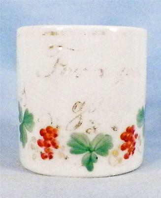 Antique For A Good Girl Mug Childs Porcelain Pink Grapes Leaves Gold Victorian