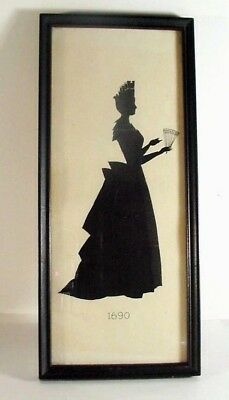 """LOT#10: ANTIQUE FRAMED SILHOUETTE VICTORIAN or EARLIER LADY DRESS 1690: 12+"""""""