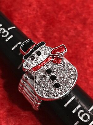Vintage Costume Bling Snowman Expandable Ring