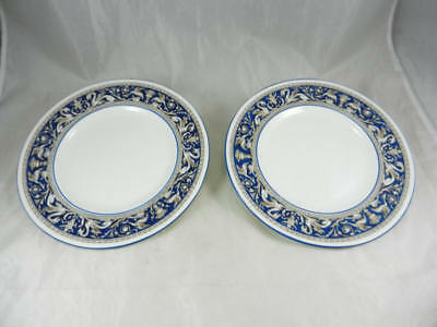 "Fabulous Gently Used WEDGWOOD Florentine Cobalt Blue 10 3/4"" Dinner Plates Set 2"