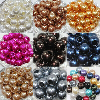 10Pcs Big Hole Lucite Resin Pearl Spacer Loose Beads For Charms Jewelry Making
