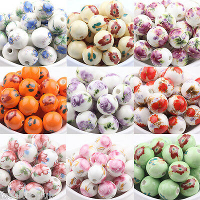 10pcs Floral Chinese Porcelain Round Loose Spacer Beads For Jewelry Making 12mm