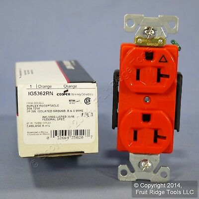 Cooper Industrial Orange ISOLATED Ground Duplex Outlet Receptacle 20A IG5362RN