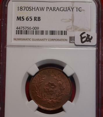 1870SHAW Paraguay 4 Centesimos Coin NGC Graded MS 65 RB