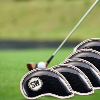 10 PCS PU Leather Head Cover Golf Iron Club Putter Headcover Set 2 Color AU