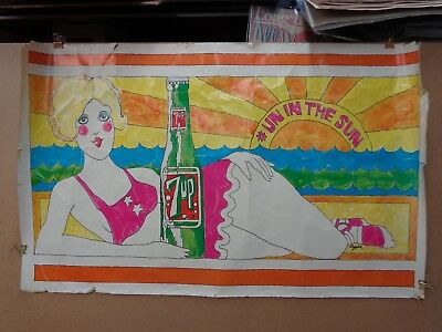 Vintage 1969 1971 7 Up 7-up POSTER mod psychedelic Dypold art as is