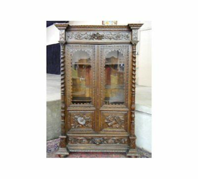 Antique Oak Carved Lion French Hunting Lodge Bookcase