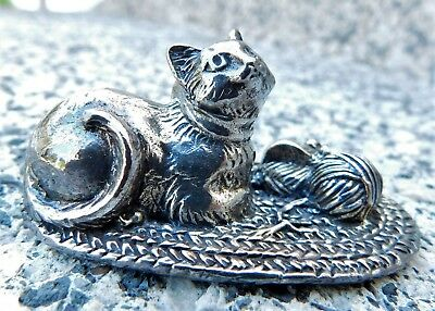 Set of 2 Reed and Barton CAT and MOUSE Silverplate Place Card Holders ~