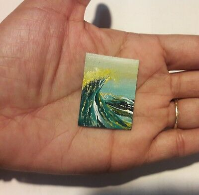 Original 1 x1.5 Inch Dollhouse Painting Seascape Waves Ocean Picture Art HYMES