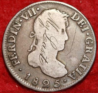 1825 Spanish Colonies 2 Reales Love Token Silver Coin