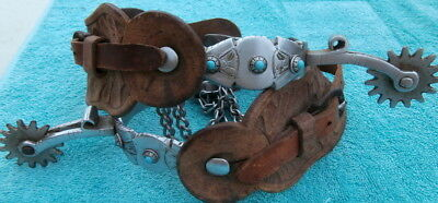 Old Vintage Turquoise Button Cowboy Horse Spurs with