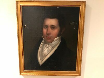 Early 19th Century British School Antique Portrait Oil Painting of Gentleman E