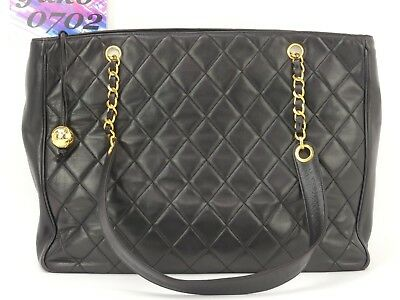1a7cc37c5f74 rk63837 Auth CHANEL Black Quilted Lambskin CC Charm Chain Large Tote  Shopper Bag