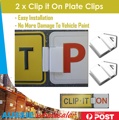 2x white Clip It On Plate Clips for Car Number Licence and p/l plate easy to use