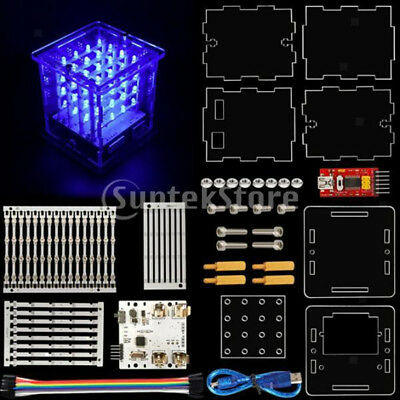 4*4*4 LED Cube Light Kit w/ Plane PCB Strips with LEDs Board for