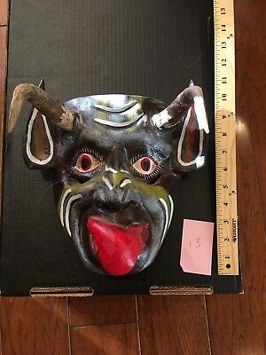 Mexican UNIQUE Carving Folk Art Wood Festival Devil Mask Goat Horns Wooden 13