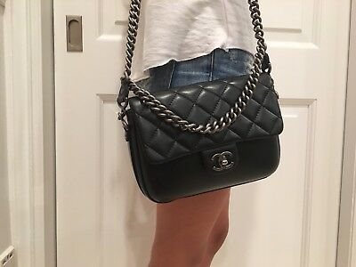 4b3b0deb3fd6fc Authentic CHANEL Black Top Quilted Leather Jumbo Classic Double Flap Bag  2017