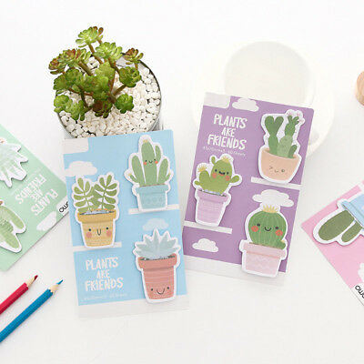 Smile Cactus Friends Memo Pad Kawaii Stationery Planner Paper Sticky Notes