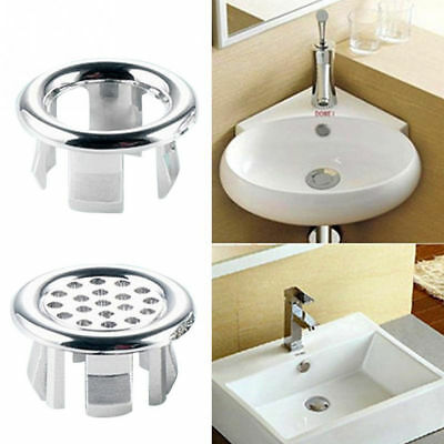 2Pcs Plastic Bathroom Basin Sink Overflow Cover Round Ring Tidy Insert Tools