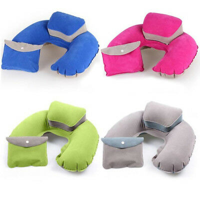 PVC Flocking Travel Pillow Air Pillow Inflatable U Shape Neck BlowUp Cushion NEW