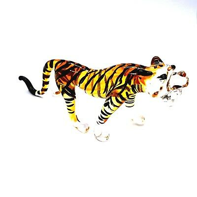 Figurine Miniature Blown Glass Tiger Animal Collectibles Hand Lampwork Poison