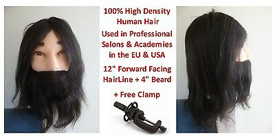 "100% Genuine High Density Human Hair Cosmetology Male 12"" + Beard Training Head"