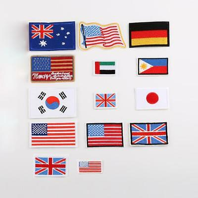 Small Country Nation Flags Embroidered Patch Sew Iron on Badge Appliques Crafts