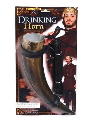 Medieval Viking Drinking Horn With Belt Adult Fancy Dress Nordic Accessory