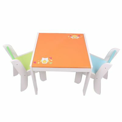 Labebe Wooden Activity Table, Orange Owl Child Table and Chair for 1-5 Years ...