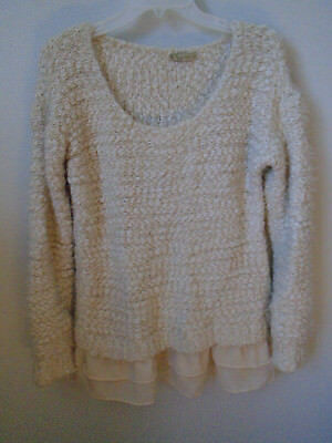 Urban Day Womens S/M Beige Knit Long Sleeve Sweater Cream and peach
