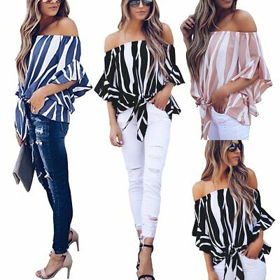 Fashion Summer Women Casual Off Shoulder Lady T Shirts Loose Casual Tops Blouse