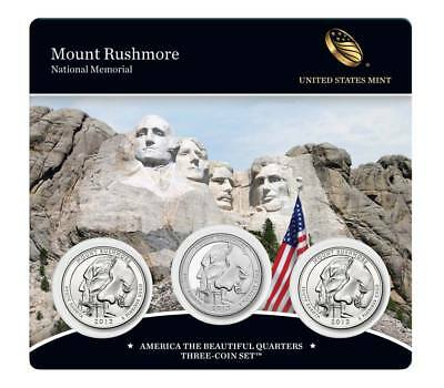 2013 P D & S US Mint Mount Rushmore ATB Quarters 3 Coin Set Sealed W COA - New