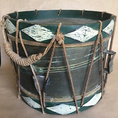 Antique French Drum - brass & painted wood body + rope - C19th - 38x38x30cm