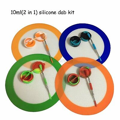 """1 Nonstick 10ml(2 in 1) Silicone Container 7.87"""" Round Mat Dab Tool Kit"""